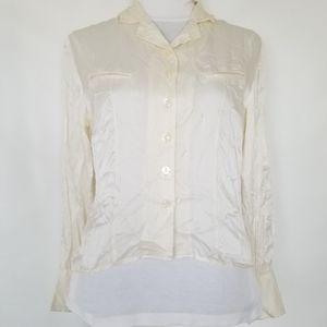 1157 NWOT Styleworks white 100 silk dress shirt 6